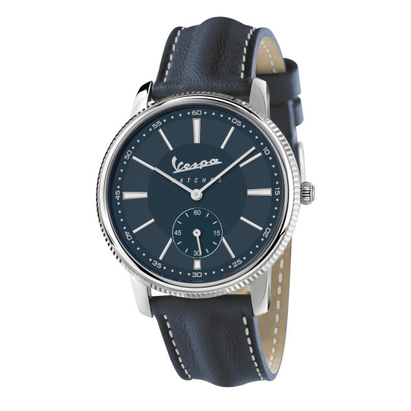 """VESPA Uhr - Heritage """"Kleine Sekunde"""" silber/dunkelblau mit dunkelblauem Lederarmband"""
