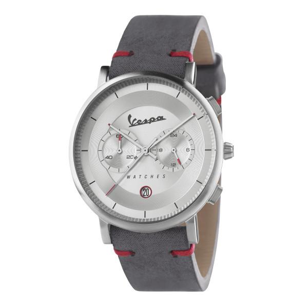VESPA Uhr - Classy Chrono silber mit grauem Lederarmband